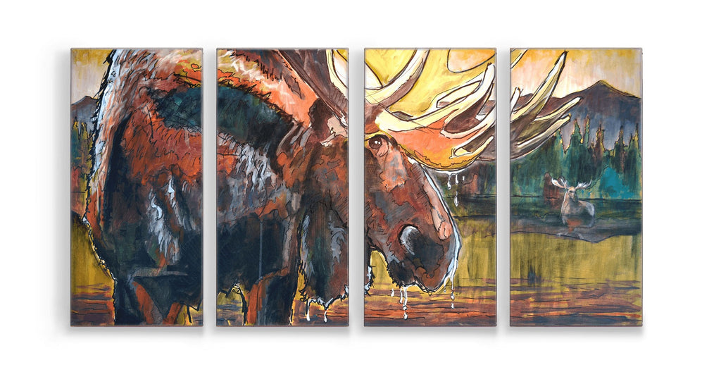 Ed Anderson 4-Panel Old Moose Box Art by Meissenburg Design at Montana Gift Corral