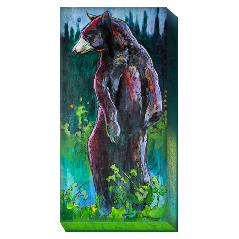Witness the beauty of Montana wildlife with the Ed Anderson Black Bear Metal Box Wall Art by Meissenburg Designs!