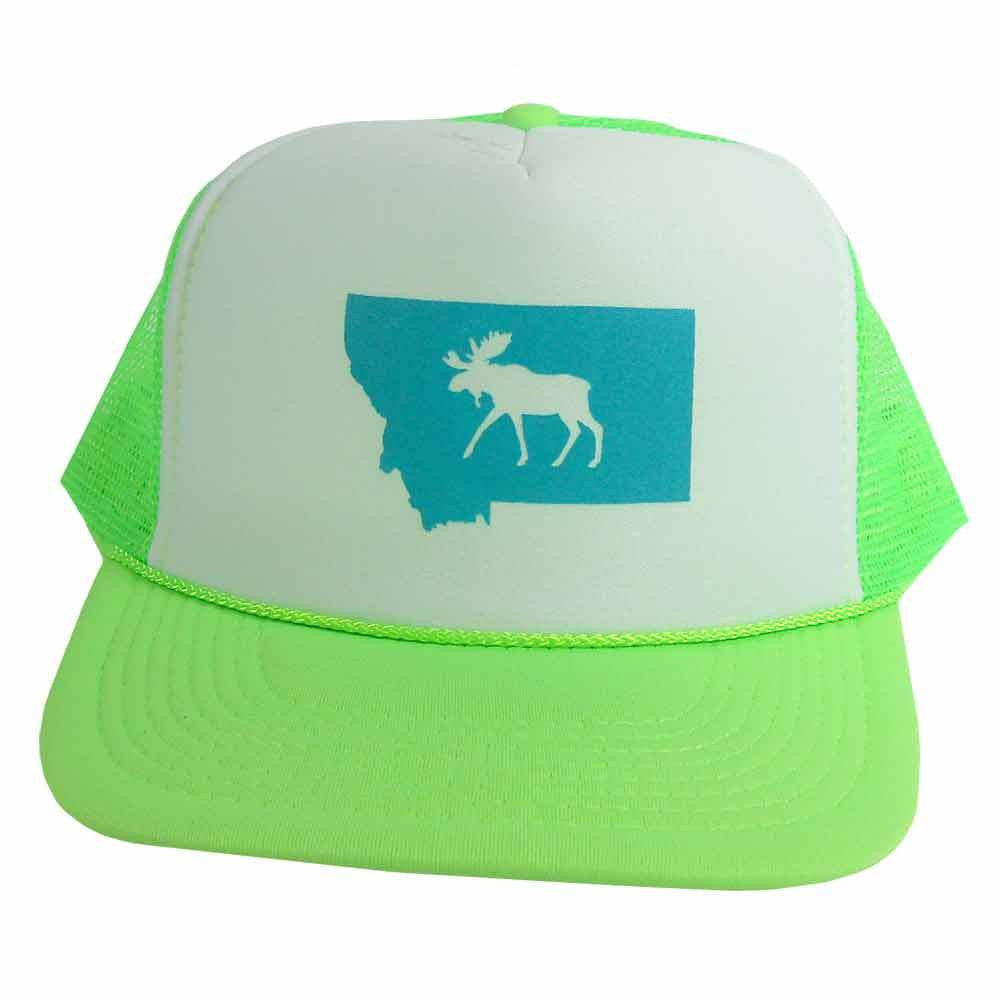 Green and White Montana Moose Trucker Hat
