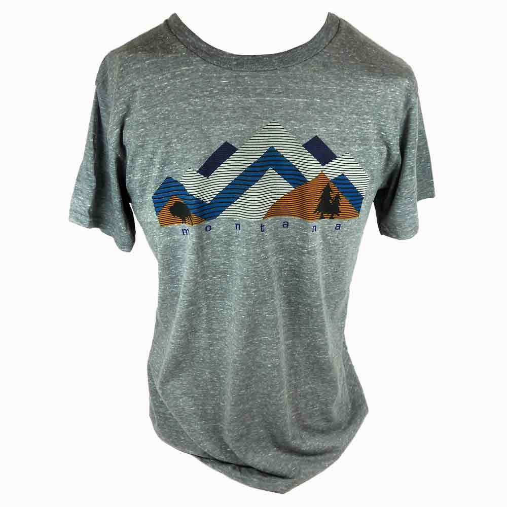 Grey Snow Mountain Stripe Montana T-shirt