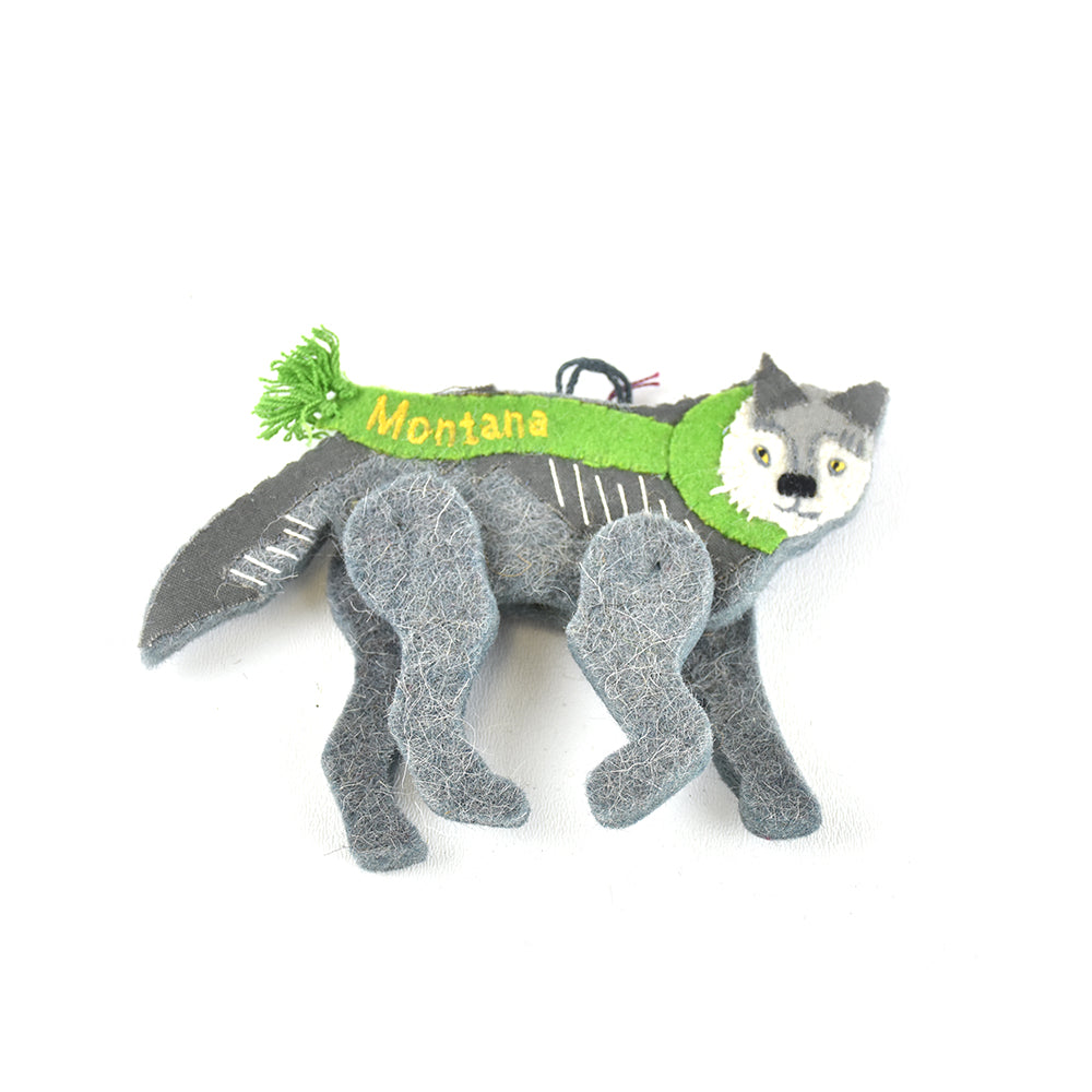 Grey Wolf with Green Montana Scarf Wool Christmas Ornament by Art Studio Company