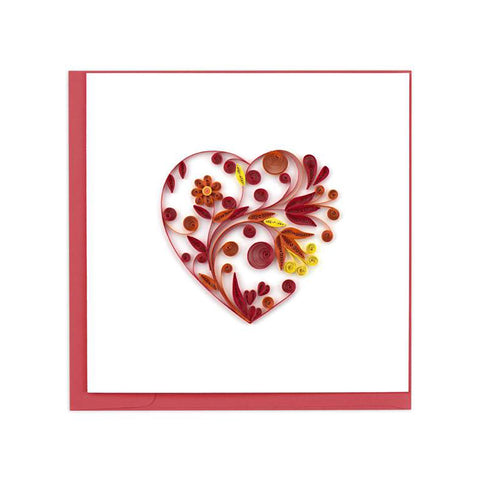 "Show your love with the beautiful Heart Greeting Card by Quilling Card. Quilling is the art of rolling or shaping small strips of paper into unique images meant to mimic the curling of a bird's feathers, hence the name ""quilling""."