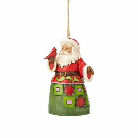 Heartwood Creek Mini Santa with Cardinal Ornament by Jim Shore