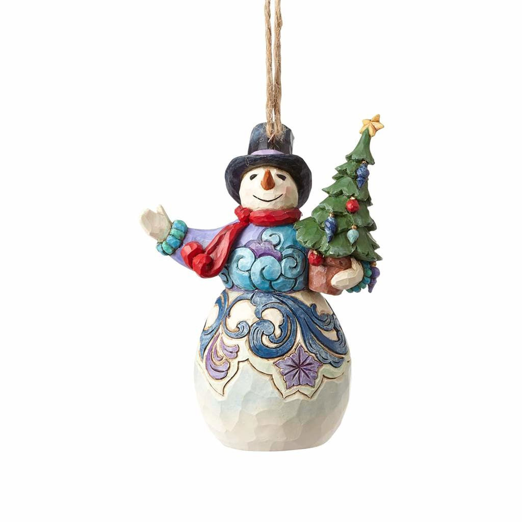 Heartwood Creek Snowman Holding Tree Ornament by Jim Shore