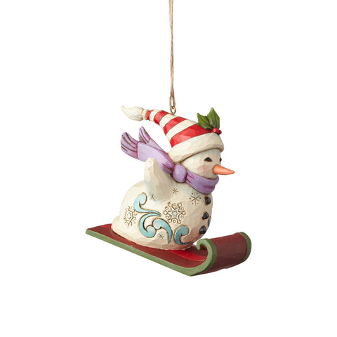 Heartwood Creek Snowman Sledding Ornament by Jim Shore