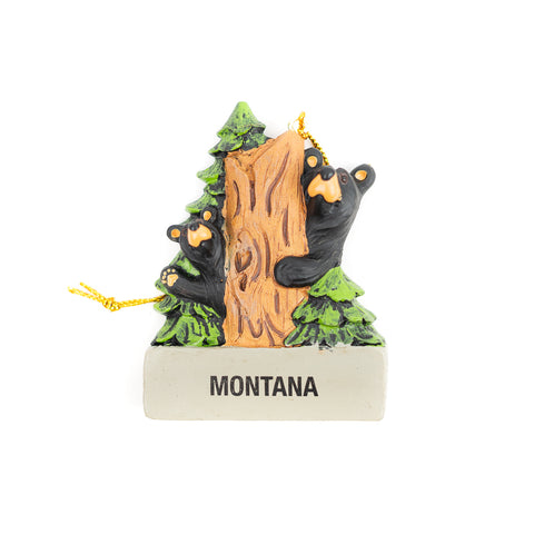 The Bearfoots Hike and Seek Montana Ornament by Big Sky Carvers is a great souvenir Christmas ornament to remind you of how much fun you had in Montana!