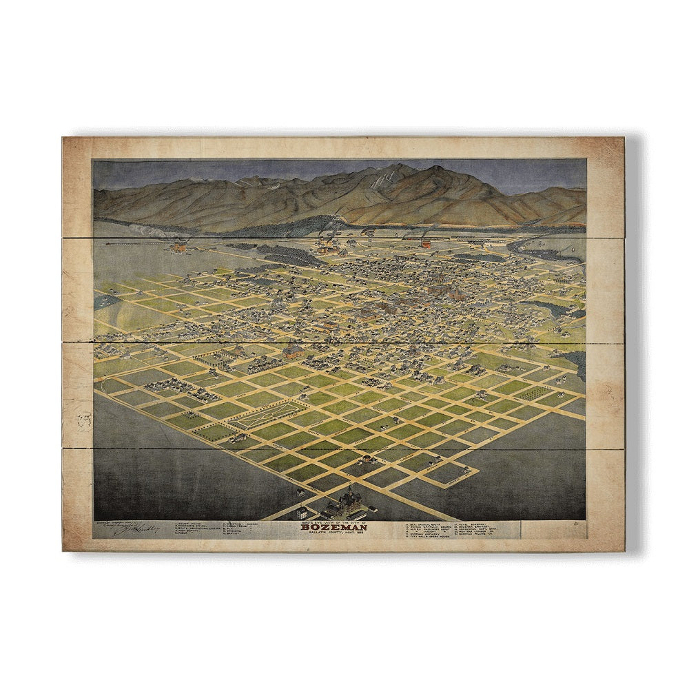 Great River Arts Wood Map of Bozeman by Meissenberg Designs (2 sizes)
