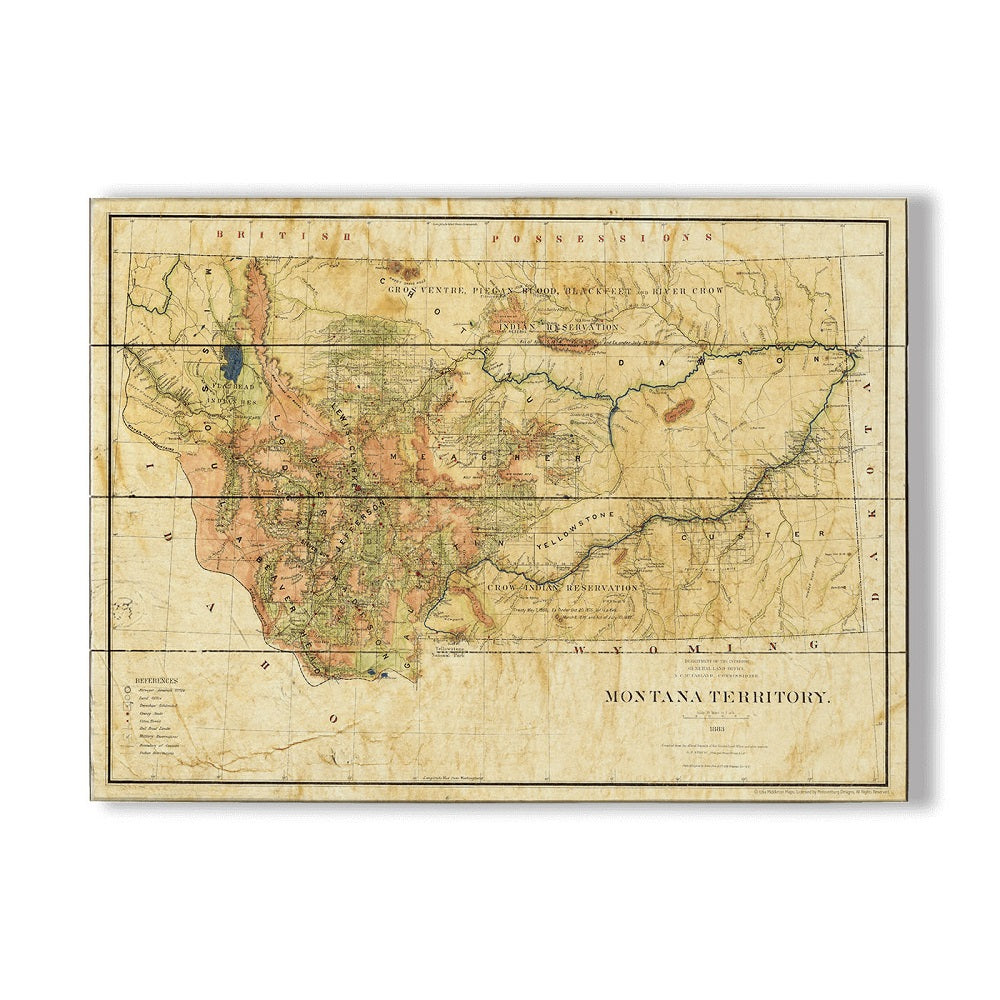 Historic Wood Montana Territory Map by Lisa Middleton from Meissenburg Designs at Montana Gift Corral