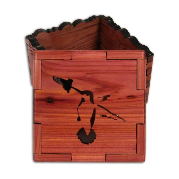 Hummingbird Cedar Wood Box by Wood You Tell Me