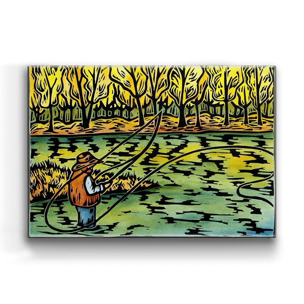 Karen Savory Fall Fisherman Metal Box Wall Art by Meissenburg Designs