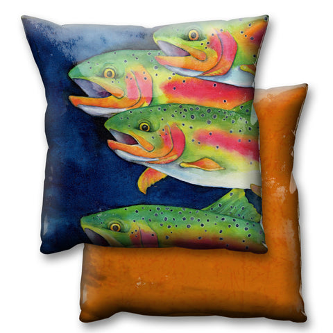 Karen Savory Rainbow Trout On the Move Pillow by Meissenburg Designs