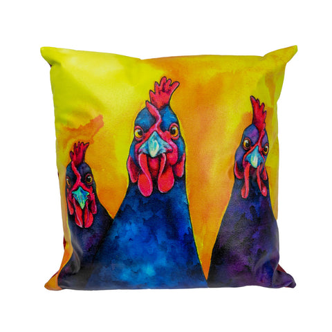 Karen Savory The Girls Three Chickens Pillow