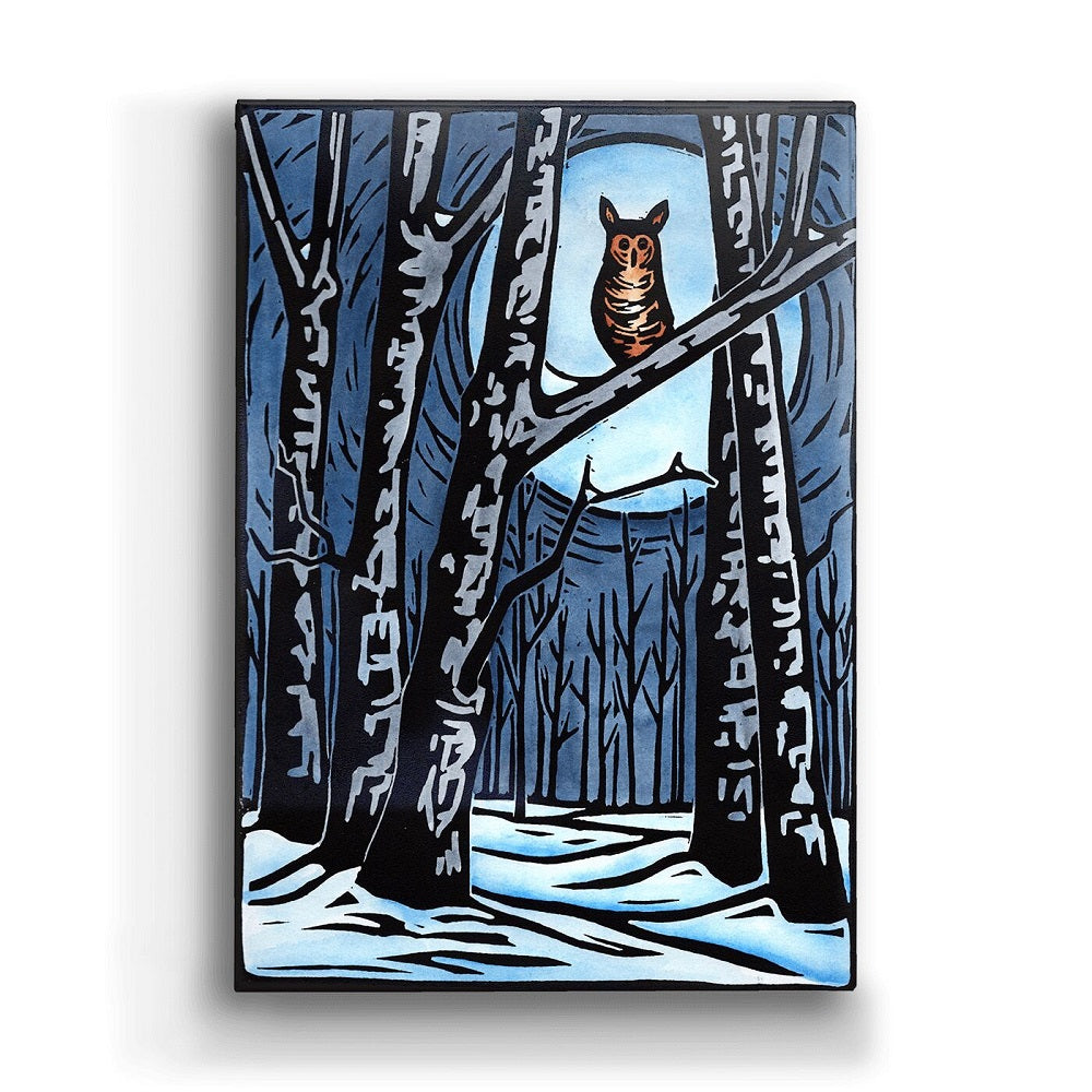 Karen Savory Winter Owl Metal Box Wall Art by Meissenburg Designs