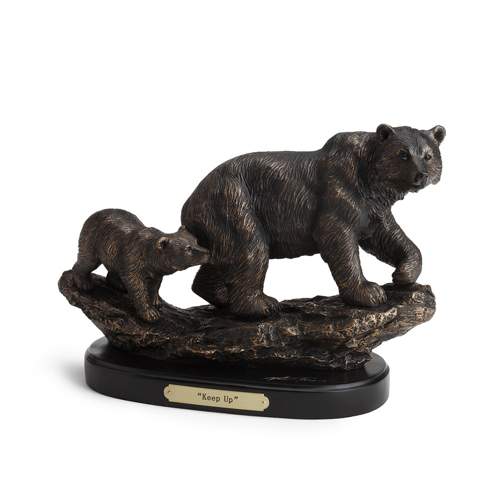Keep Up Bear with Cub Sculpture by Marc Pierce
