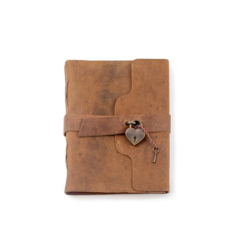 Leather Journal with Heart Lock and Key by SugarBoo & Co.