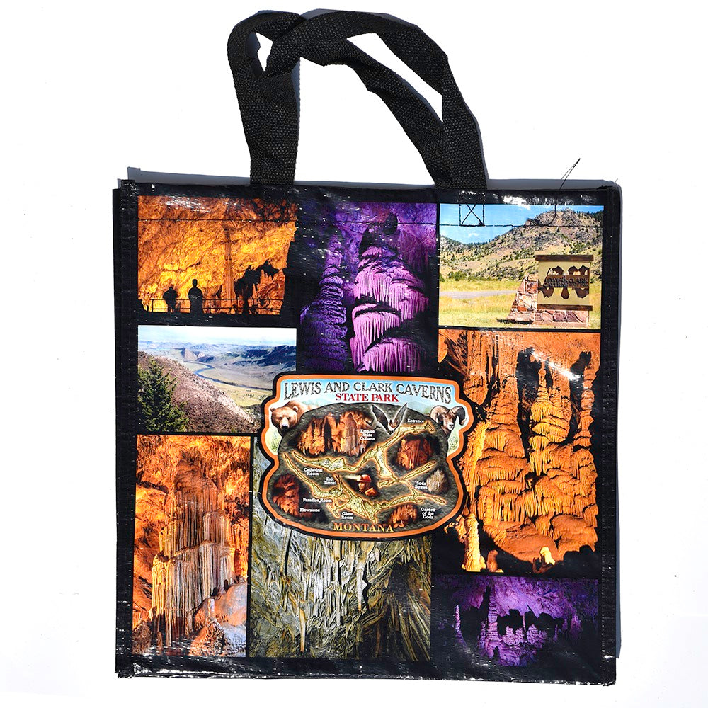 Lewis and Clark Caverns State Park Full Color Collage Tote Bag from The Hamilton Group at Montana Gift Corral
