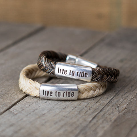 Live to Ride Horse Hair Bracelet by Cowboy Collectibles