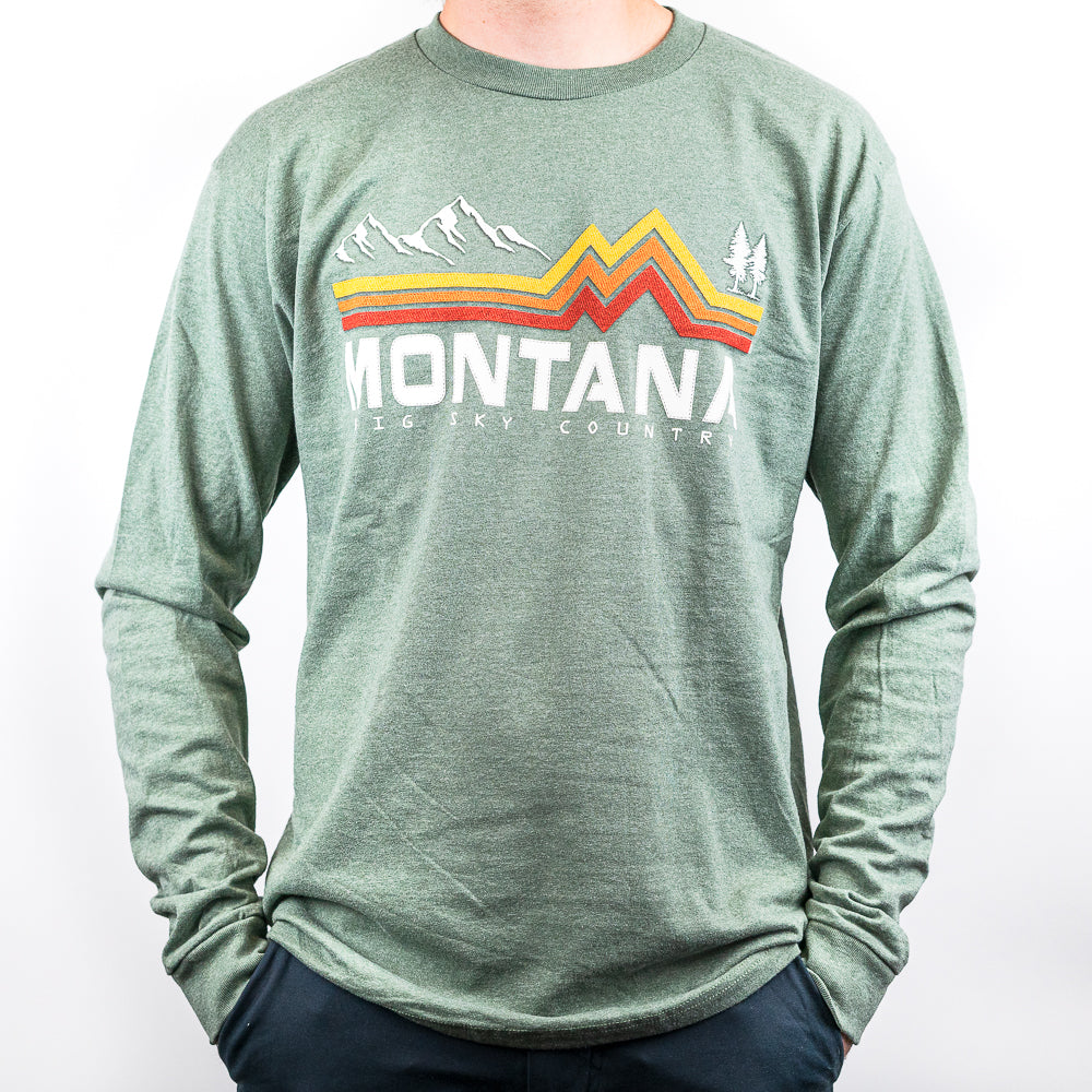 Loden Band of Color Mountain Tree Montana Long Sleeve Shirt