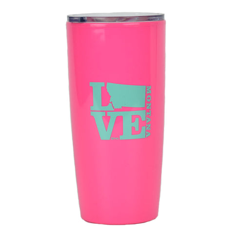 Hot Pink with turquoise writing, 20 oz MT Love Omega Double Walled Plastic Travel Mug by Hamilton Group
