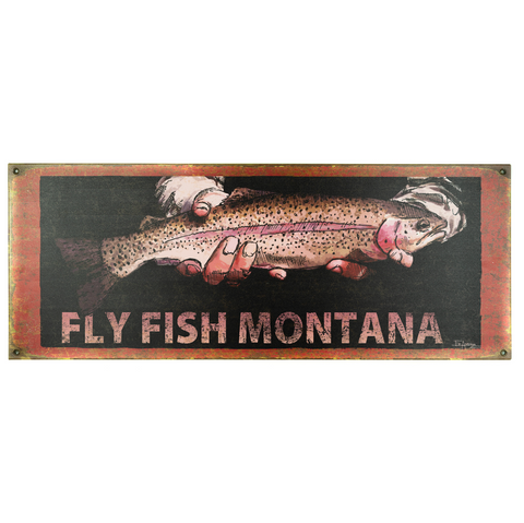 Montana Fly Fishing Metal Sign by Meissenburg Designs