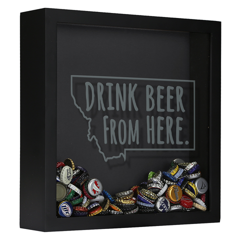 Montana Drink Beer From Here Shadow Box by Wooden Shoe Designs
