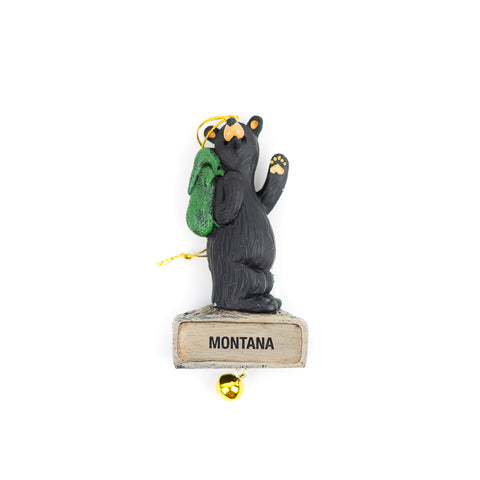 Bearfoots Hiker Bear with Bell Ornament by Jeff Fleming