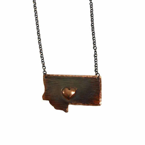 Montana State with Heart Necklace