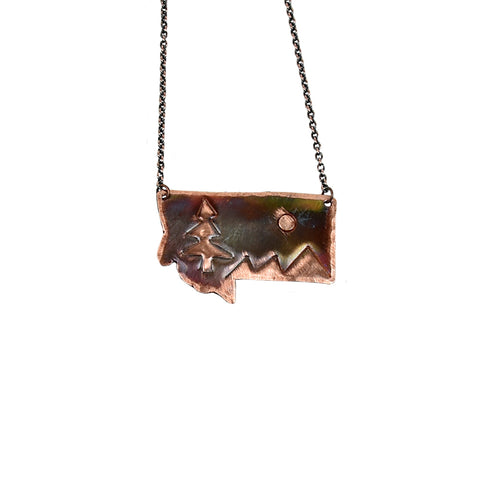 Montana and Mountains Copper Necklace by RoseWorksMT