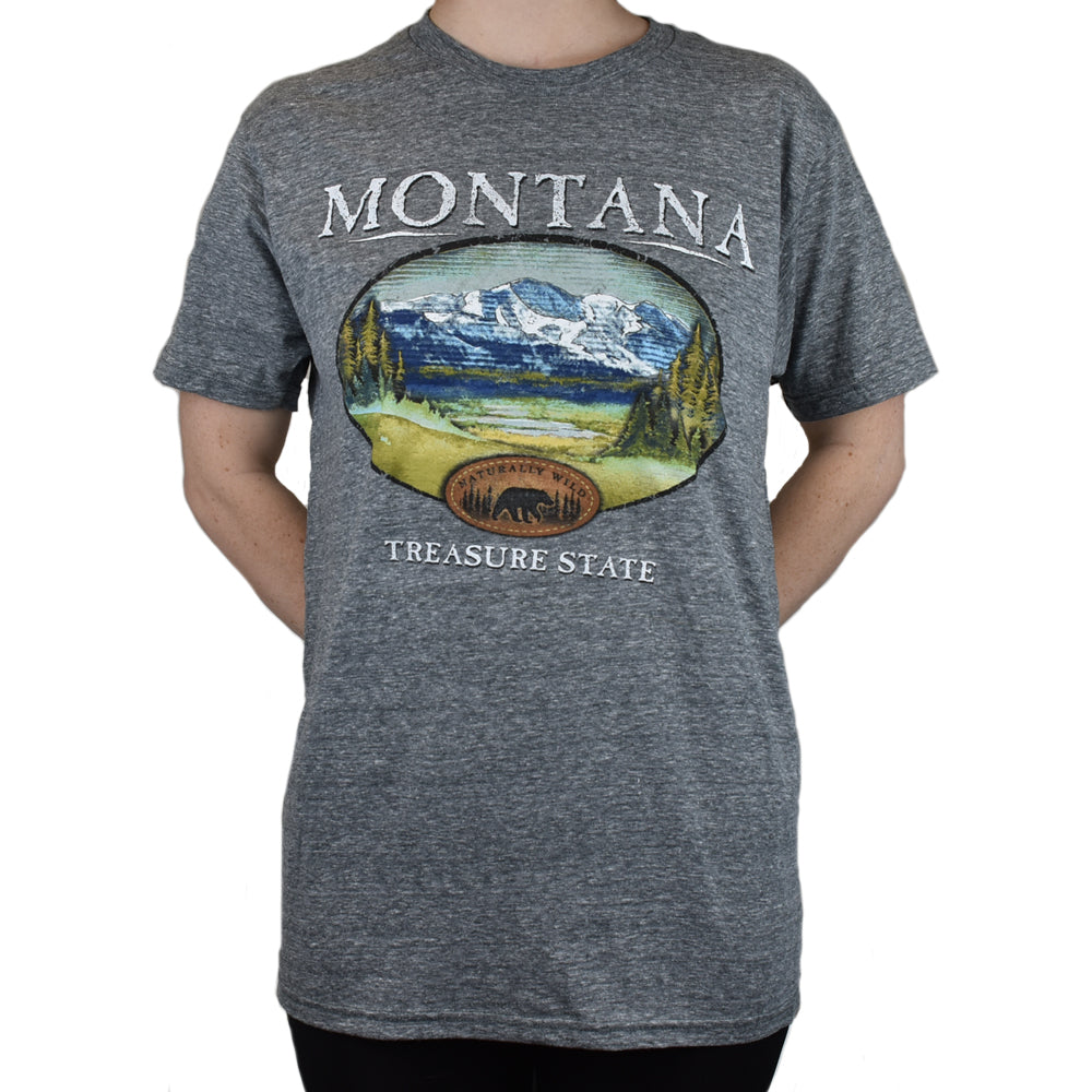 Montana Fishing Bridge Mountain Treasure State Graphite Tee Shirt by Prairie Mountain