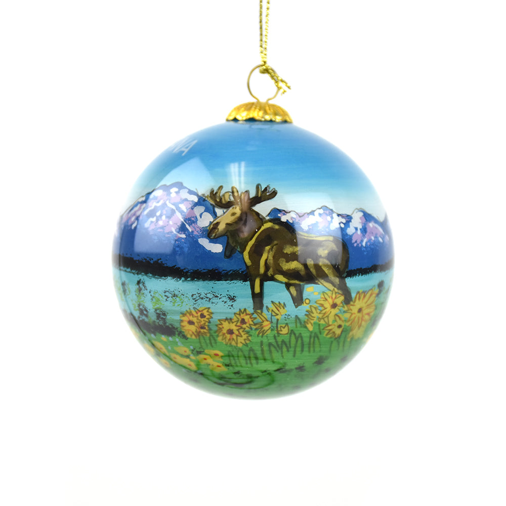 Montana Moose with Sunflowers Christmas Ornament by Art Studio Company