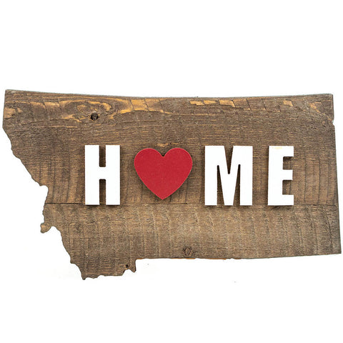Montana State Shape Raised Letter Home Wall Art