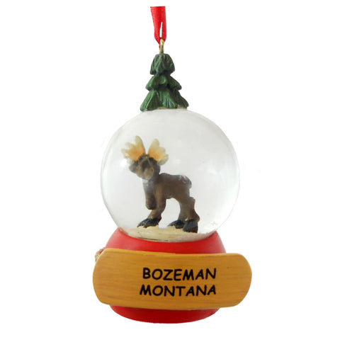 Moose Snow Globe Bozeman Ornament by Big Sky Carvers
