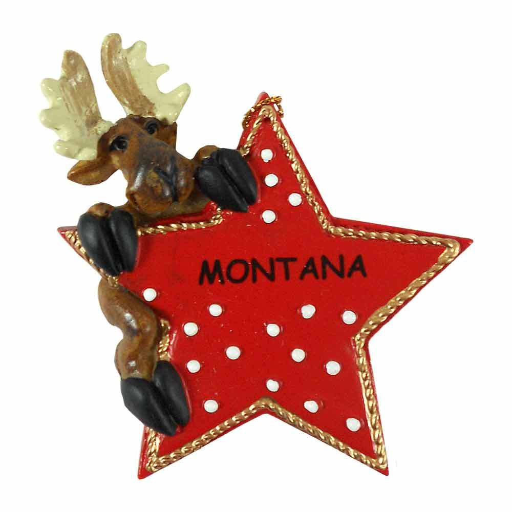 Moose Climbing on Star Ornament