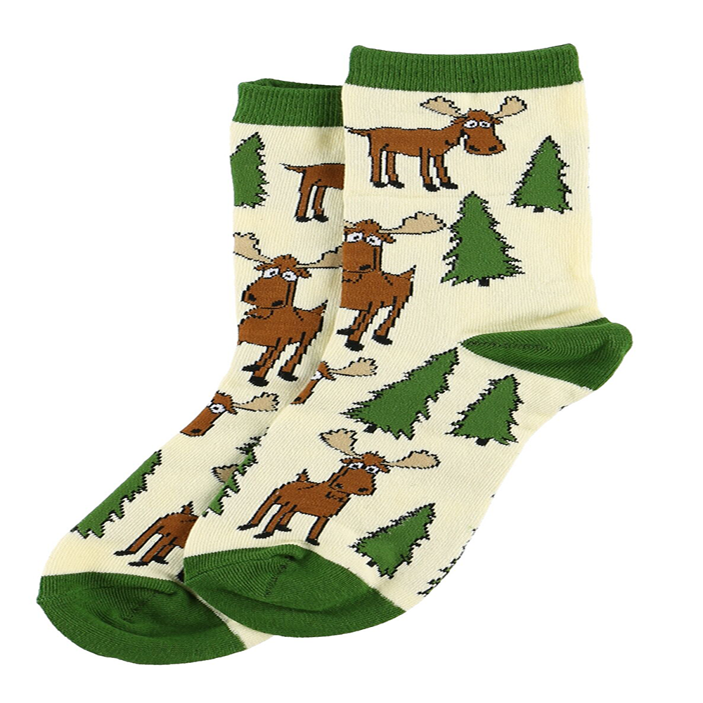Moose Hug Green Crew Sock by Lazy One