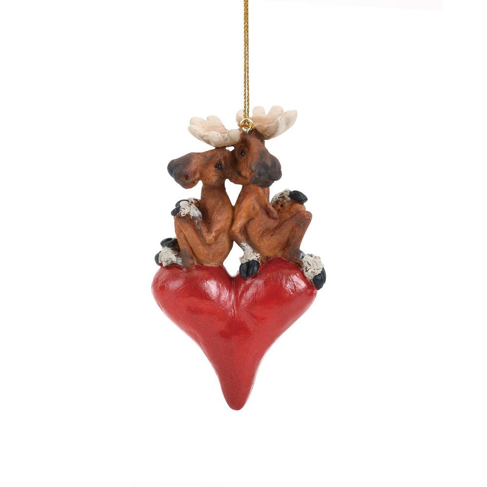 Moose Sweethearts Ornament by Big Sky Carvers at Montana Gift Corral