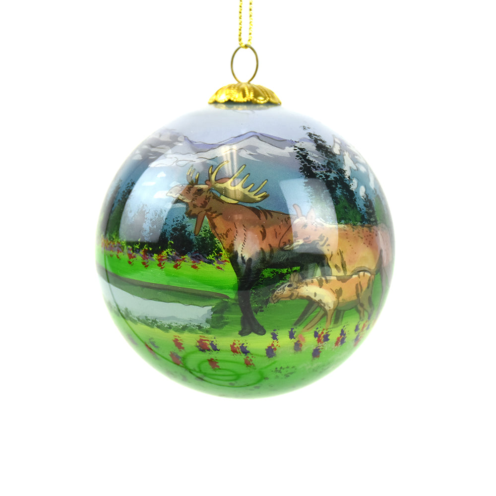Moose Family by the Lake and Mountains Montana Christmas Ornament by Art Studio Company
