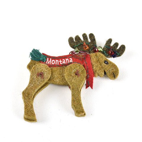 Moose with Christmas Lights Wool Montana Christmas Ornament by Art Studio Company at Montana Gift Corral