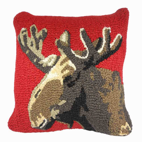 Moose on Red Pillow