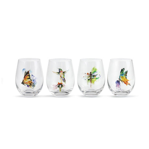 Garden Stemless Watercolor Wine Glasses by Dean Crouser from Big Sky Carvers