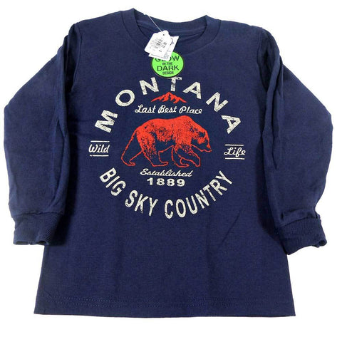 Navy Griz Jiffy Mountain Youth Montana Long Sleeve Shirt