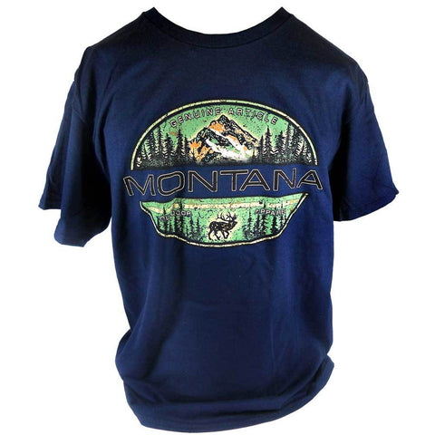 Navy Indian Summer Mountain Elk Montana T-Shirt