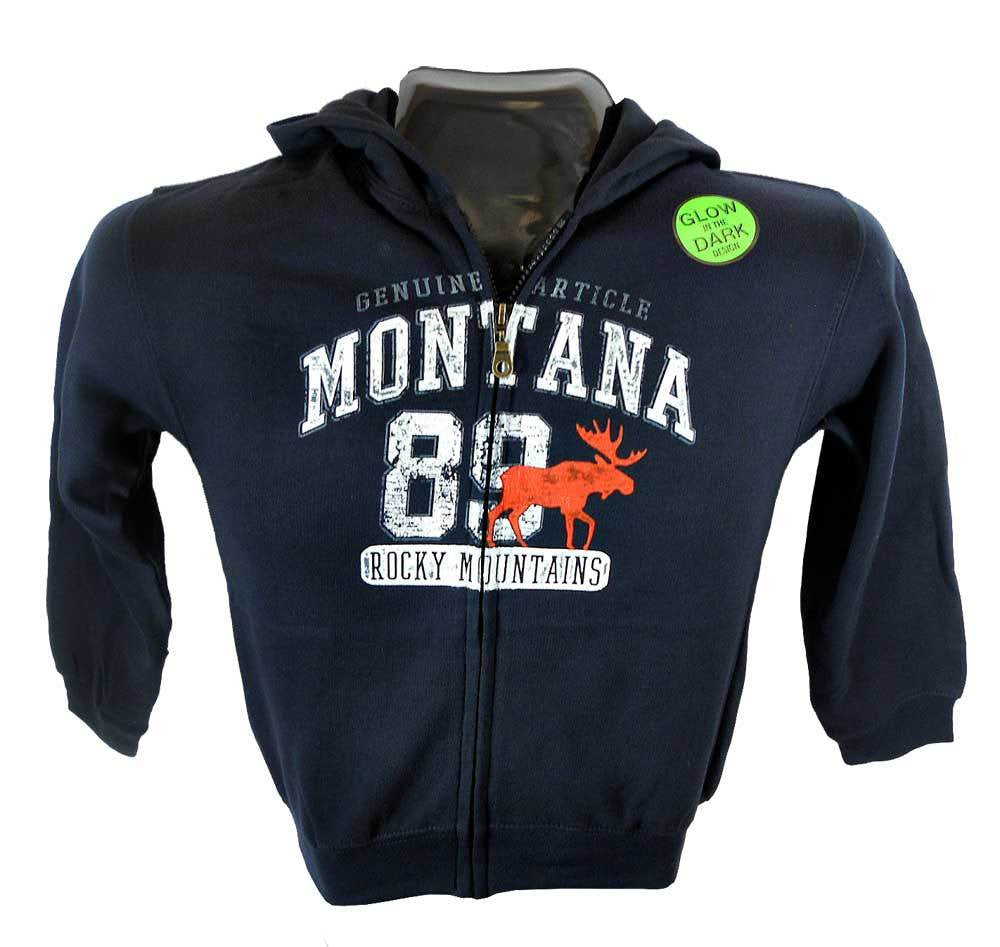 Navy Touchdown Moose Youth Montana Hoodie