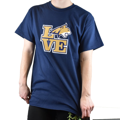 Navy Montana State University Bobcat Love Tee Shirt by Hamilton Group