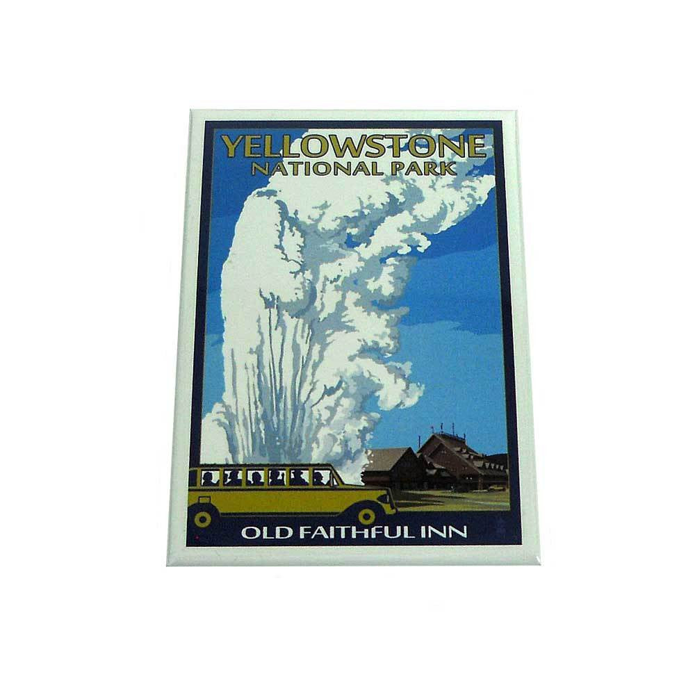Old Faithful Lodge and Bus Yellowstone National Park Magnet