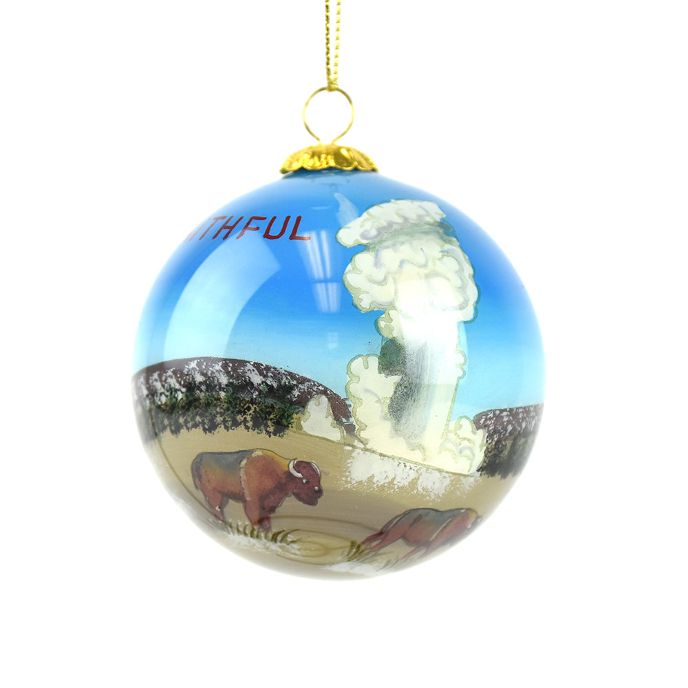 Old Faithful Geyser Yellowstone National Park Christmas Ornament by Art Studio Company at Montana Gift Corral