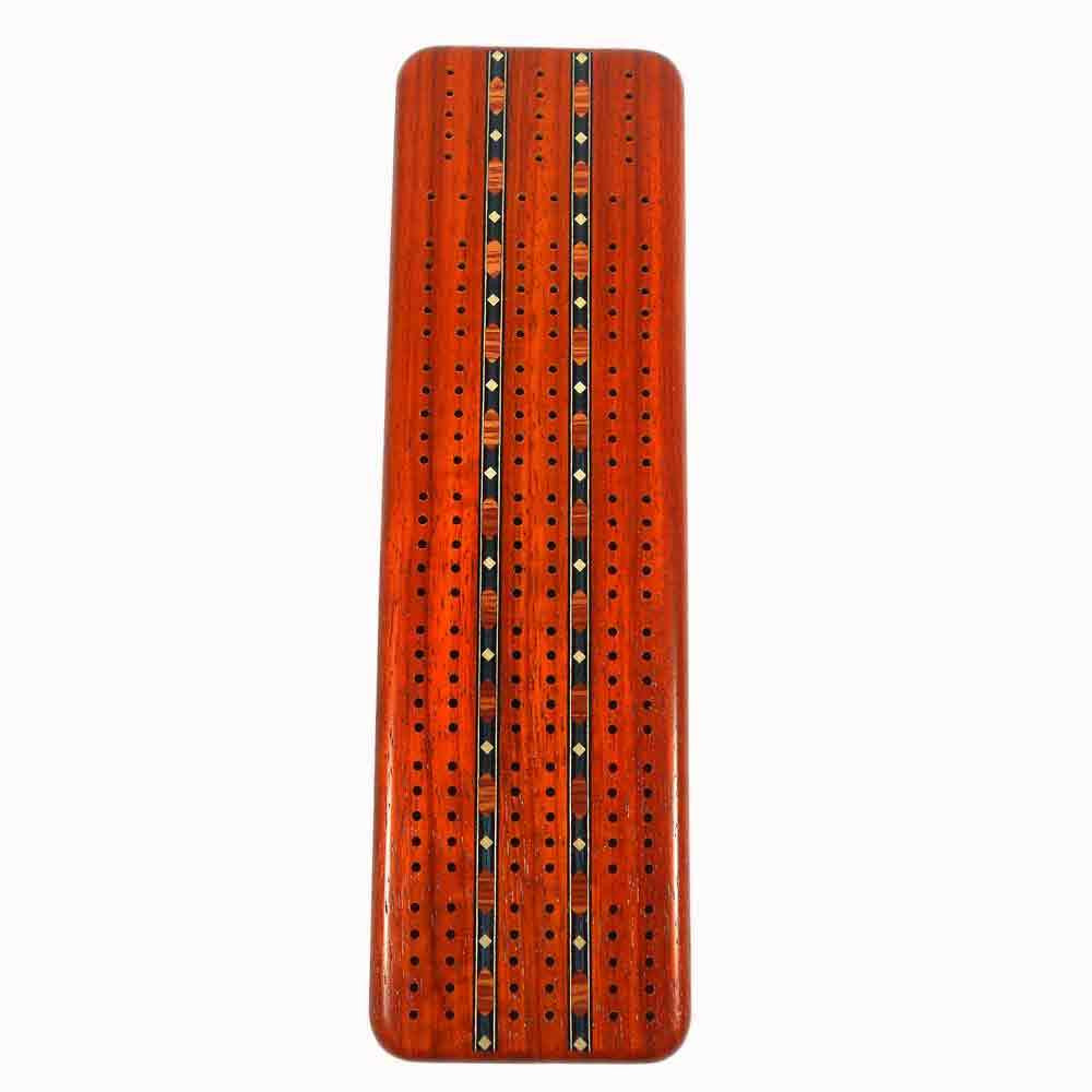 Padauk 3 Track Cribbage Board with Cards