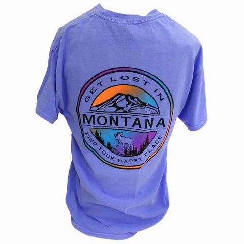 Periwinkle Geo Seal Mountains Montana T-Shirt