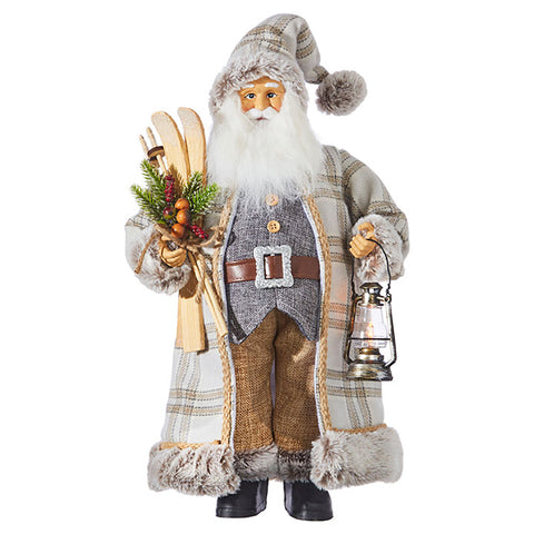 It's beginning to look a lot like Christmas and we have got you covered with the Pinecone Lodge Santa with Skis by RAZ Imports!