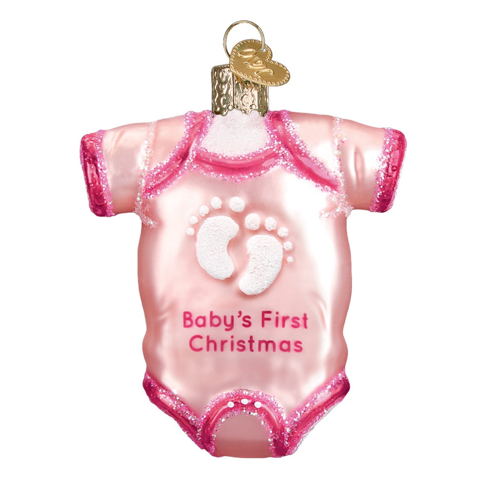Pink Baby's First Christmas Onesie Christmas Ornament by Old World Christmas (2 Colors)