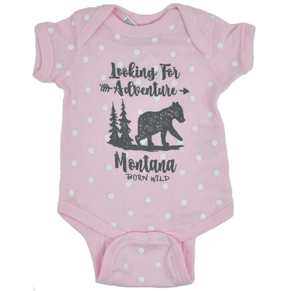 Pink Polka Dot Looking For Adventure Montana Bear Onesie by Prairie Mountain
